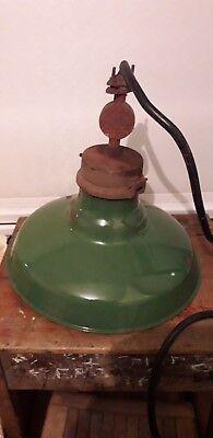 Vintage industrial large enamel  light lamp shade Coolicon Revo type retro theme