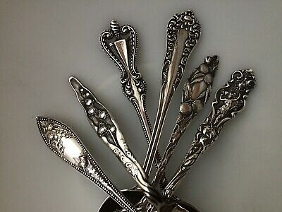 LOT / SET of 6 Floral Ornate Spoons 107g Sterling Silver Watson Wallace Whiting