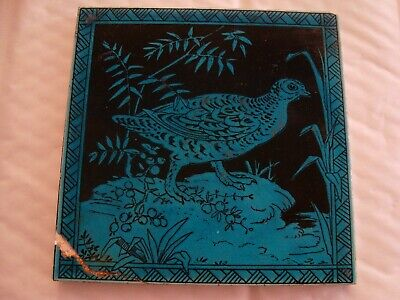 Minton Hollins Turquoise Bird with foliage Tile 19/99