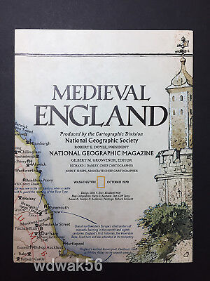 ORIGINAL 1979-10 OCTOBER National Geographic MAP SUP MEDIEVAL ENGLAND/BRIT ISLES