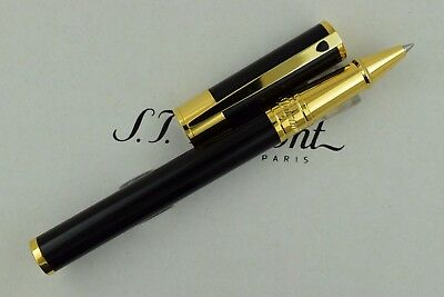 NEW ST Dupont D-Initial Yellow Gold Finish Black Rollerball Pen ST262202