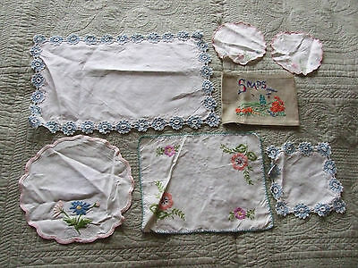 VINTAGE 7 CROCHET EDGED EMBROIDERED DOILIES MATS TABLE CENTRES Craft Wedding