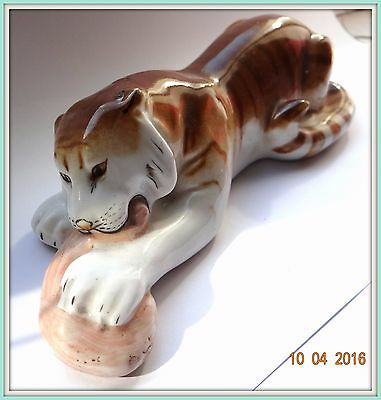 Antiques Antique Lfz 1930 Years Russian Porcelain Figurine Tiger Sculptor B Vorobyov