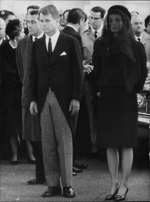 Bobby Kennedy and Jackie Kennedy at funeral of John F Kennedy. - 8x10 photo