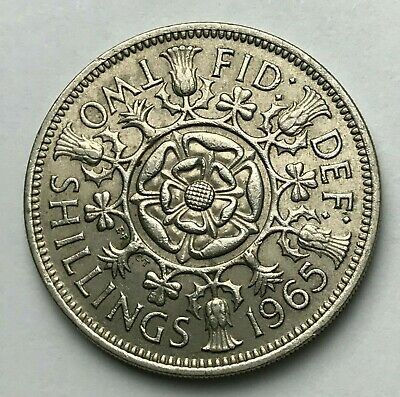 Dated : 1965 - One Florin - Two Shillings Coin - Queen Elizabeth II