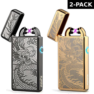 2 PACK USB Electric Dual Arc Flameless Rechargeable Windproof Dragon Lighter