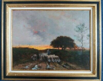 Barbizon School French Impressionist Oil Painting 19th Century Framed and signed