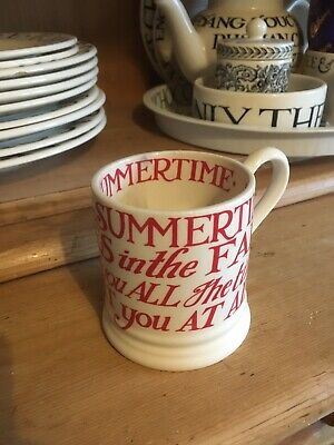 **EMMA BRIDGEWATER Peaches In The Summertime Red Toast Mug Cup**