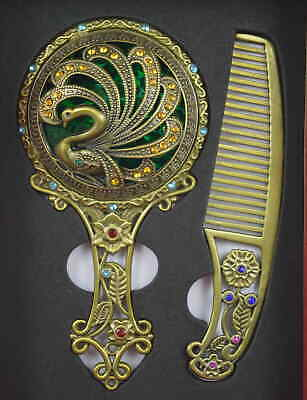 AAA Copper Carve Noble Phoenix & Flower A Set Usable Hand Mirror Comb & Gift Box