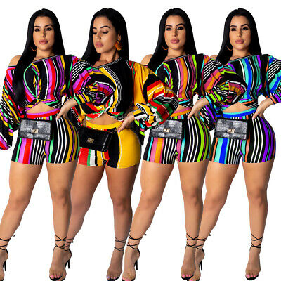 Women Two Piece Set Outfit Striped Casual Jumpsuit Crop Top + Shorts Clubwear