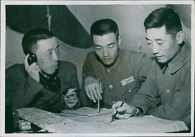 Chinese Generals discuss offensive. - 8x10 photo