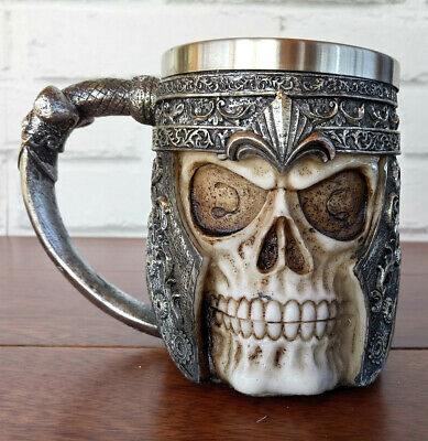 Stainless Steel Warrior Skull with Helmut Coffee Beer Mug 3D Design 13.5 oz
