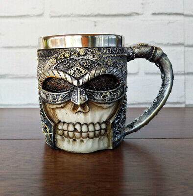 Stainless Steel Warrior Helmut Skull Coffee Beer Mug 3D Design 13.5 oz