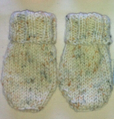 Hand Knitted Soft Baby Mittens 0 - 6 Months ~ Wheat