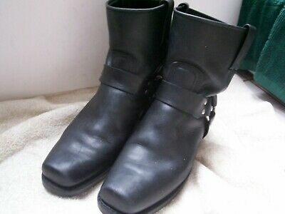 ff8493b61b95 Frye Black Leather Pull On Motorcycle Ankle Boots Mens 10 M Beauty Rare