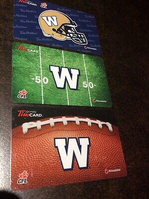 Tim Hortons Collectable Gift Cards - 2012, 2013, 2014, Winnipeg Blue Bombers