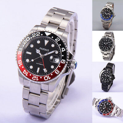 40mm Parnis Sapphire Crystal GMT Automatic Movement Men Mechanical Luxury Watch