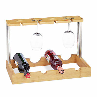 Bamboo Wine Rack for 4 Bottles, Kitchen Countertop Bottle and Glass Holder