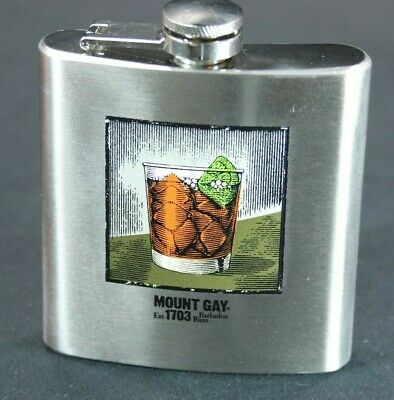 Mount Gay Rum Barbados Metal Flask Stainless Steel 6 oz