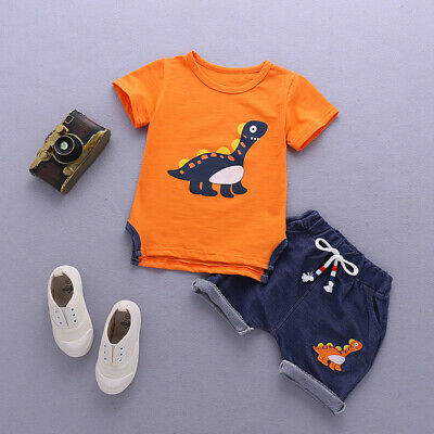 Baby Boys Kids Short Sleeve Cotton Blend Cartoon Sport Suits Clothes Sets