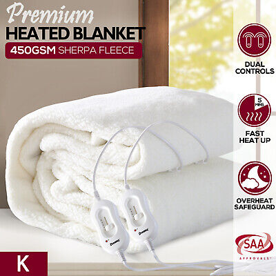 Dreamz Fleecy Electric Blanket Heated Warm Fully Fitted Washable Winter King
