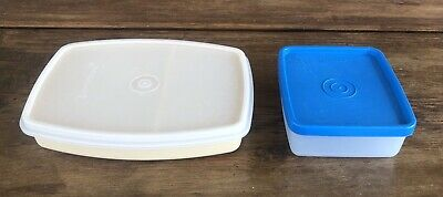 Tupperware #813 Packette Divided Lunch Snack Container & #1516 Mini Square