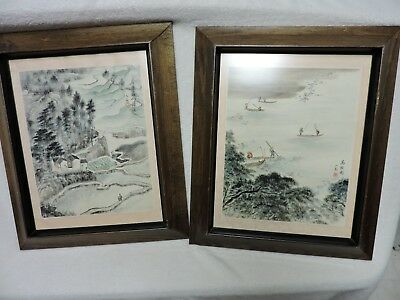 Pair of Framed Asian Chinese Japanese Signed Watercolor Art