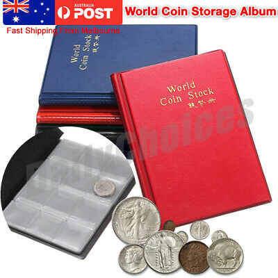 120 COIN HOLDERS COLLECTION ALBUM BOOK Money Penny Collecting Pockets Storage