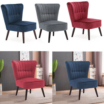Curved Shell Back Velvet Tub Chair Armchair Occasional Seat Bedroom Living Room