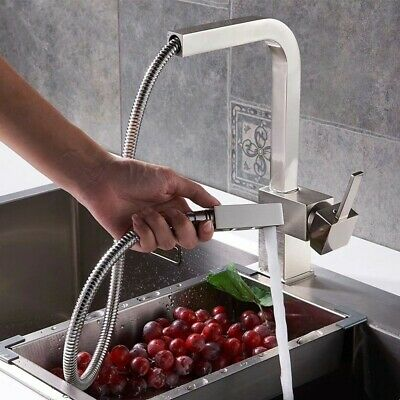 Modern Pull-Out Kitchen Faucet Single Handle Square Swivel Spout Brushed Nickel
