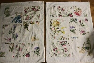 Pottery Barn B & B French Country Plaid Floral Patchwork Std Pillow Shams Pair