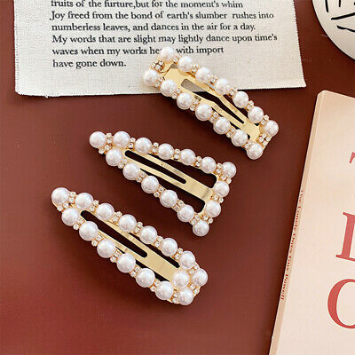 1pc New Selling Pearl Hair Clip Rhinestone Snap Hairpins for Women Hair Styling