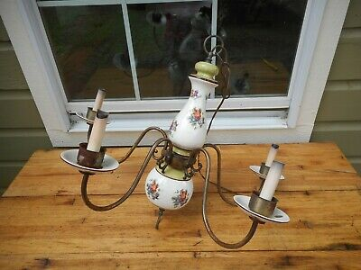 Antique Made in Italy Ceramic 5 Arm Chandelier Ceiling Light Fixture Hanging