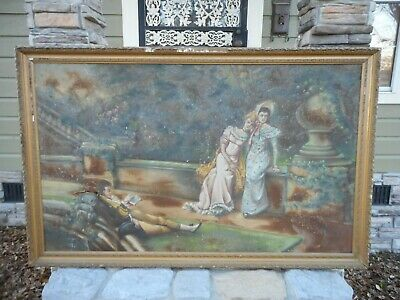 "Antique 1800's Large Huge 65"" x 40.5"" Canvas Art Painting Signed "" Wheeldon """