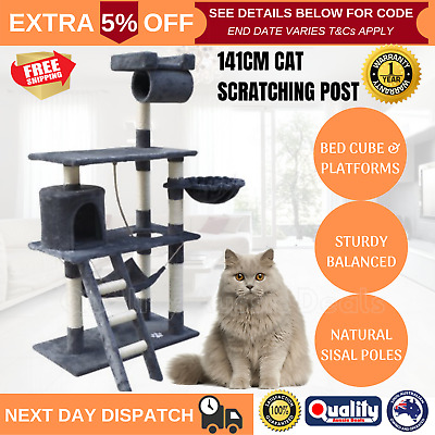 Large Cat Scratching Post Tree House 141cm Tower Furniture Ladder Pole Scratcher