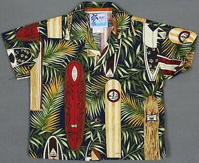 NEW RJC Vtg USA Floral Surfboards Button Cotton Hawaiian Shirt Baby Boys 18M