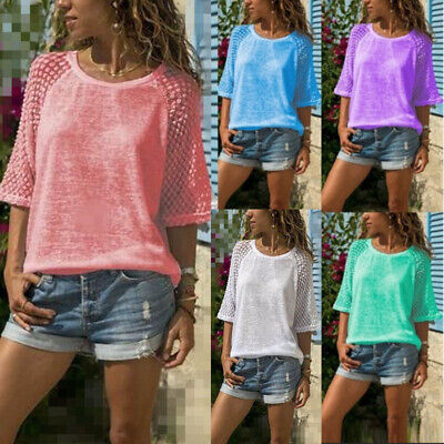 UK Plus Size Womens Crew Neck Tops Ladies Summer Casual Loose Blouse T Shirt