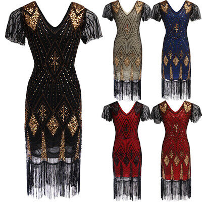 Women Gatsby Flapper 1920s Beaded Vintage Lace Tassel Sequin Party Evening Dress