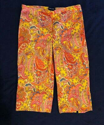 Ralph Lauren Girls Size 14 side zip Paisley Capris Bright colors