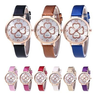 Women PU Leather Strap Band Watch Flower Pattern Dial Analog Display Wrist Watch