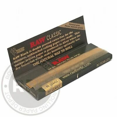 6X RAW Black 1 1/4 Rolling Papers +Authentic