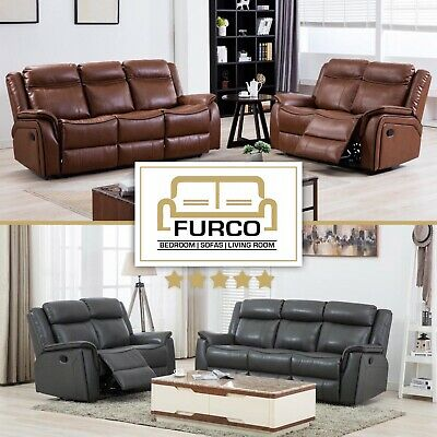 ROMA LEATHER RECLINER SOFA SUITE | TAN BROWN GREY | 3 + 2 + 1 Seater