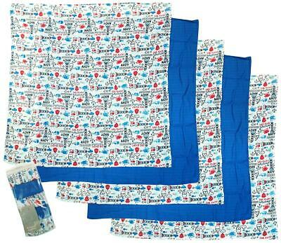 Baby Boys Muslin Cotton Squares Blanket 5 Pack Soft Bibs Reusable Cloth Swaddle
