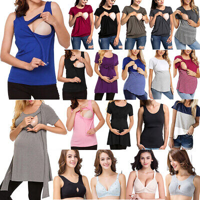Women Pregnant Maternity Clothes Nursing Bra Top Breastfeeding T-Shirt Blouse UK