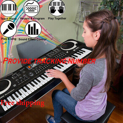 Electronic Keyboard Deluxe 61 Keys Digital Demo Songs Record Play Free Shipping