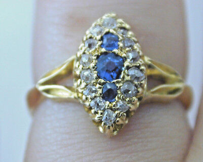 Victorian Marquise sapphire and old mine diamond ring 3.1g size K made in 1898