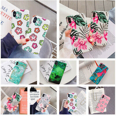 Floral Marble Pattern IMD Rubber Soft Case Cover For iPhone XS Max XR X 8 7 Plus