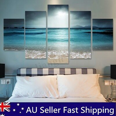 5Pcs Sunset Seaside Canvas Print Art Painting Home Decor Wall Picture Framed AU