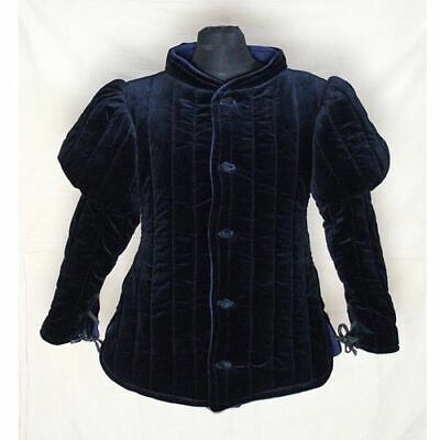 Beautiful Medieval Thick Padded Blue Gambeson Play Theater Custome Sca