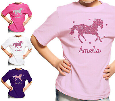 Personalised Glitter Horse Girls T-Shirt Riding School Pony Tshirt Top Kids